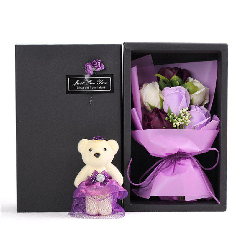 6Pcs Box Romantic Rose Soap Flower With Little Cute Bear Doll Great for Valentine's Day Wedding birthday Gifts - PURPLE