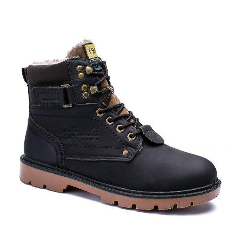 SX69 Casual Leather Shoes and Velvet Martin Boots - BLACK 39