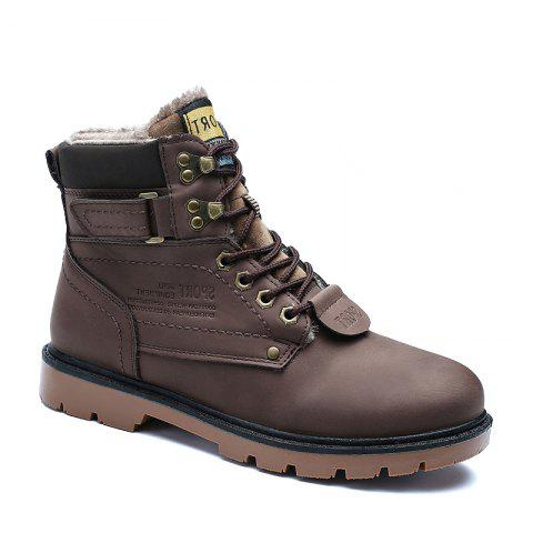 SX69 Casual Leather Shoes and Velvet Martin Boots - BROWN D STYLE 46