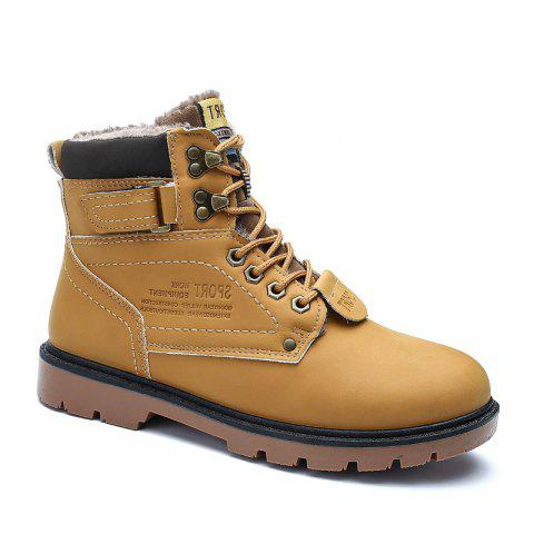 SX69 Casual Leather Shoes and Velvet Martin Boots - YELLOW BROWN 45