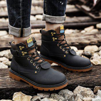 SX69 Casual Leather Shoes and Velvet Martin Boots - BLACK 42