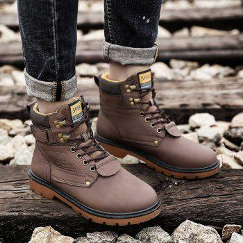 SX69 Casual Leather Shoes and Velvet Martin Boots - BROWN D STYLE 42