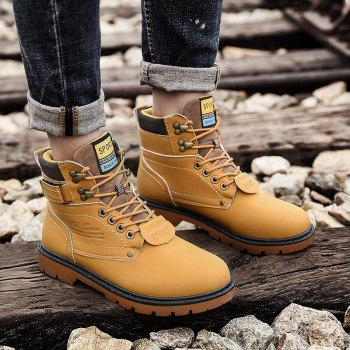 SX69 Casual Leather Shoes and Velvet Martin Boots - YELLOW BROWN 42