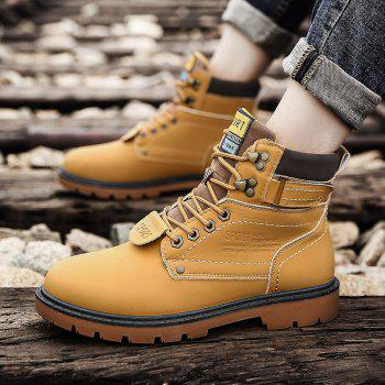 SX69 Casual Leather Shoes and Velvet Martin Boots - YELLOW BROWN 39