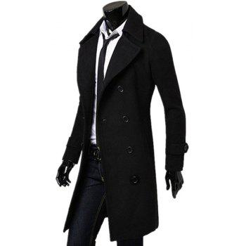 Business Casual Trench Coat Washed Cotton Turndown Collar Jacket for Men - BLACK L