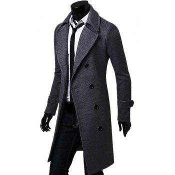 Business Casual Trench Coat Washed Cotton Turndown Collar Jacket for Men - GRAY L