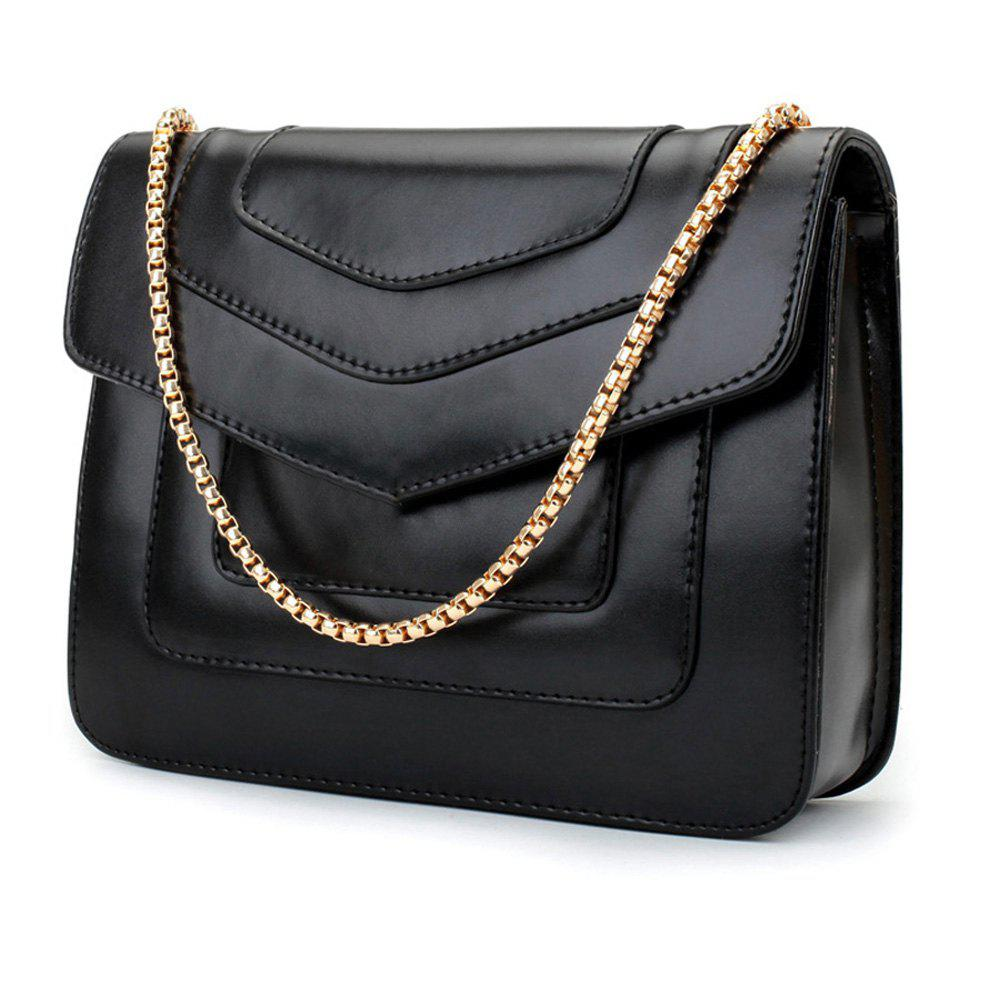 New Splicing Chain Women's Single Shoulder Slanted Slanted Crossbody Bag - BLACK