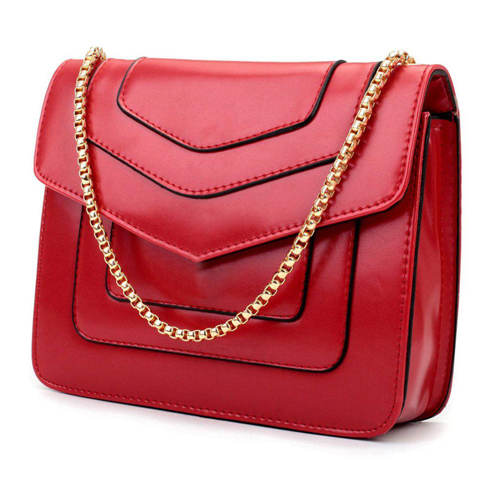 New Splicing Chain Women's Single Shoulder Slanted Slanted Crossbody Bag - RED