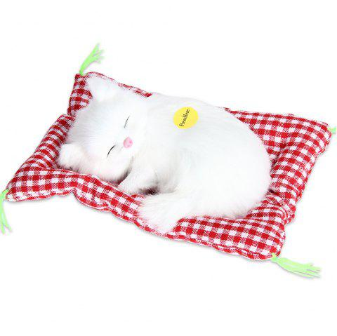Stuffed Lovely Simulation Animal Doll Plush Sleeping Cats Toy with Sound - WHITE