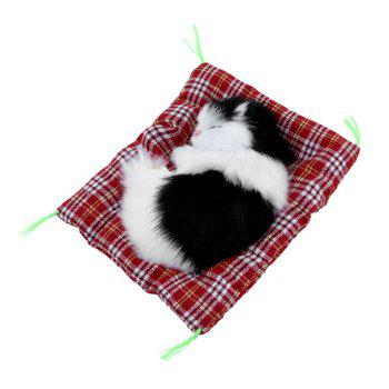 Stuffed Lovely Simulation Animal Doll Plush Sleeping Cats Toy with Sound -  BLACK WHITE