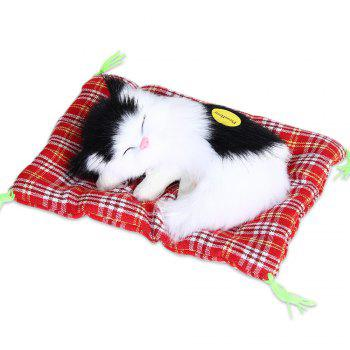 Stuffed Lovely Simulation Animal Doll Plush Sleeping Cats Toy with Sound - BLACK WHITE BLACK WHITE