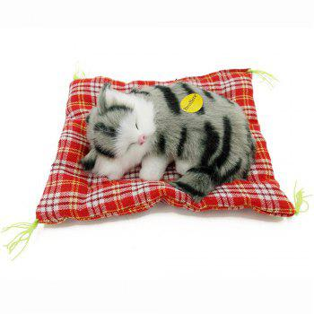 Stuffed Lovely Simulation Animal Doll Plush Sleeping Cats Toy with Sound - GRAY BLACK GRAY BLACK