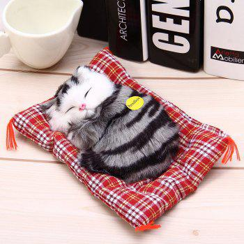 Stuffed Lovely Simulation Animal Doll Plush Sleeping Cats Toy with Sound - GRAY BLACK