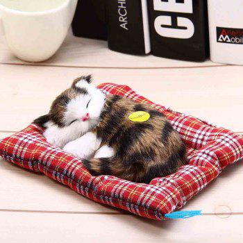 Stuffed Lovely Simulation Animal Doll Plush Sleeping Cats Toy with Sound - BLACK BROWN