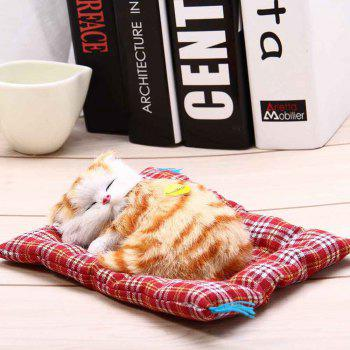 Stuffed Lovely Simulation Animal Doll Plush Sleeping Cats Toy with Sound - YELLOW BROWN