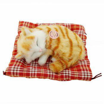 Stuffed Lovely Simulation Animal Doll Plush Sleeping Cats Toy with Sound - YELLOW-BROWN YELLOW BROWN