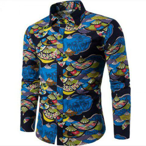 Spring Young Men English Wind Long Sleeved Shirt CS1 - BLUE 2XL