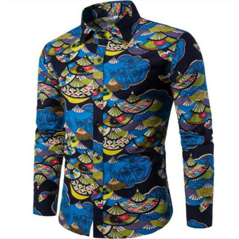Spring Young Men English Wind Long Sleeved Shirt CS1 - BLUE XL