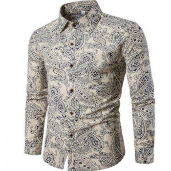 New Spring Men'S Fashion Leisure Slim Shirt PrintingCS2 - WHITE 3XL