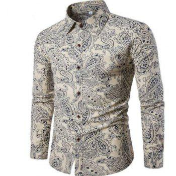 New Spring Men'S Fashion Leisure Slim Shirt PrintingCS2 - WHITE L