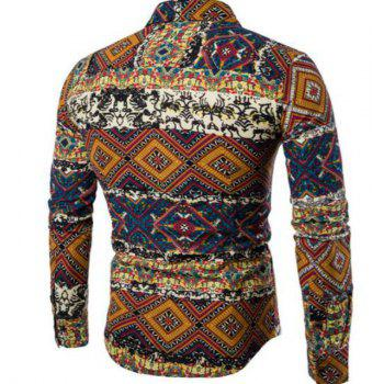 New Spring Fashion Personality Folk Style Printing Mens Long Sleeve Shirt CS04 - DAISY 4XL
