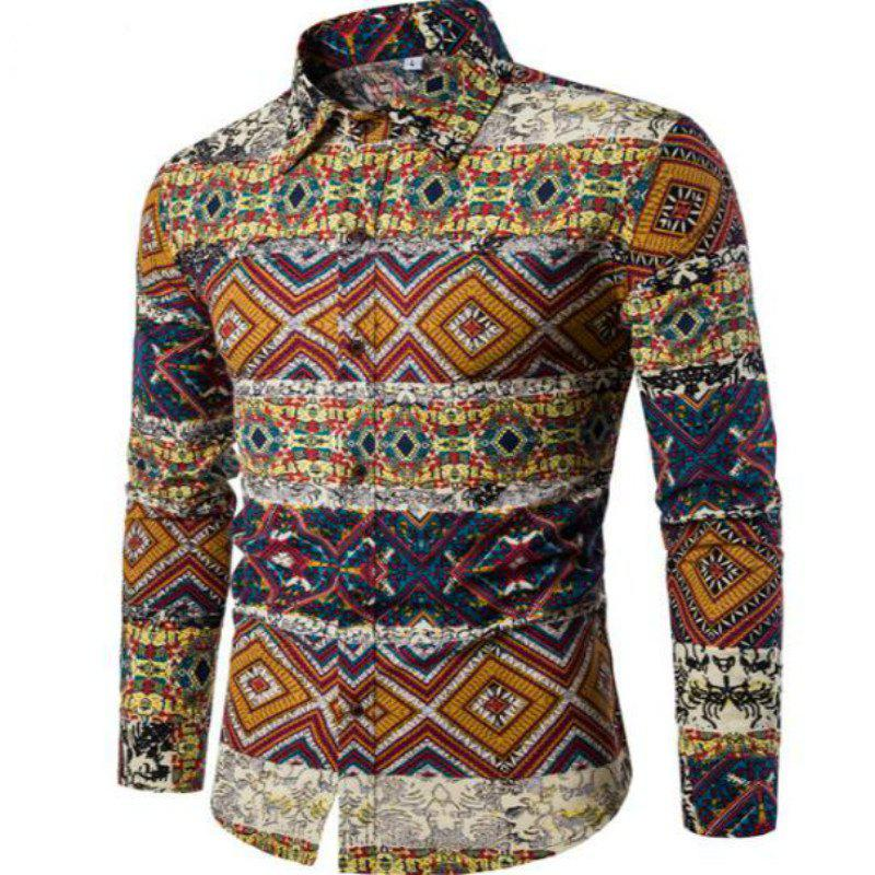 New Spring Fashion Personality Folk Style Printing Mens Long Sleeve Shirt CS04 - DAISY 5XL