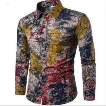 New Spring Men'S Long Sleeved Floral Shirt CS05 - RED 3XL
