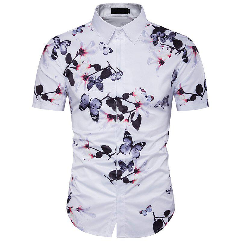 New Summer Men'S Personality Floral Print Shirt new summer