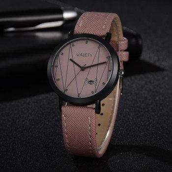 GAIETY G491 Leather Fashion Quartz Watch - PINK