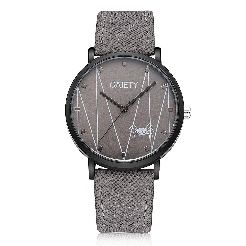 GAIETY G491 Leather Fashion Quartz Watch - GRAY