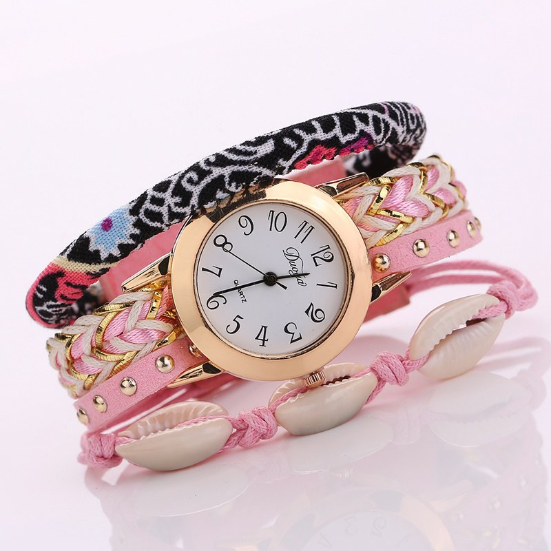 Duoya D130 Women Bracelet Wristwatch Fashion Quartz Watch - PINK