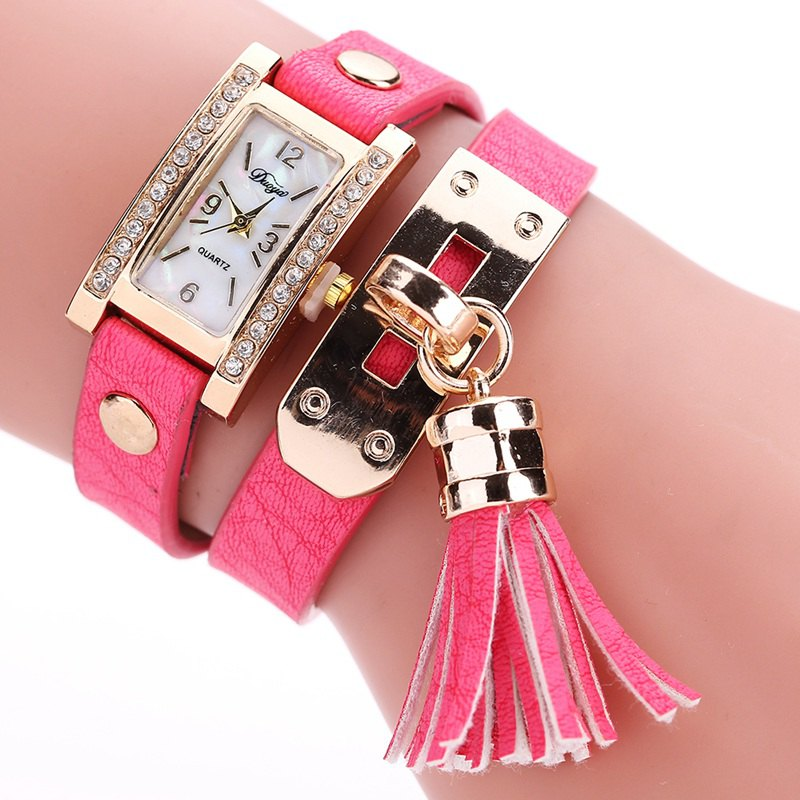 Duoya D132 Women Bracelet Watch Lady Watch Fashion - ROSE RED