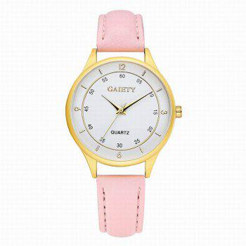 GAIETY Women's Golden Round Case Leather Band Wrist Watch G403 - PINK PINK