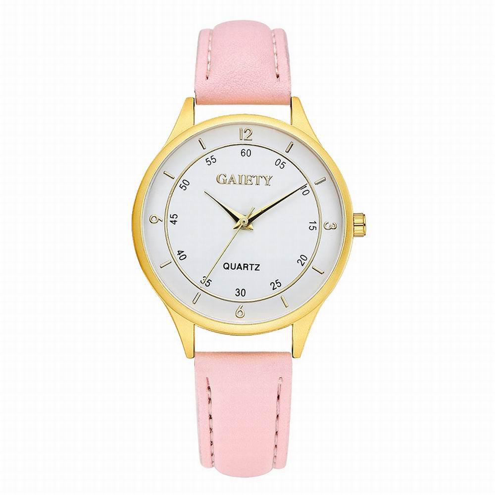 GAIETY Women's Golden Round Case Leather Band Wrist Watch G403 - PINK