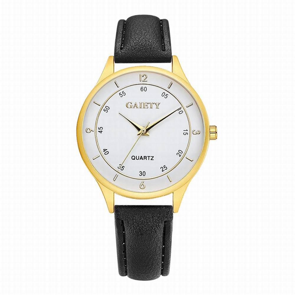 GAIETY Women's Golden Round Case Leather Band Wrist Watch G403 - BLACK