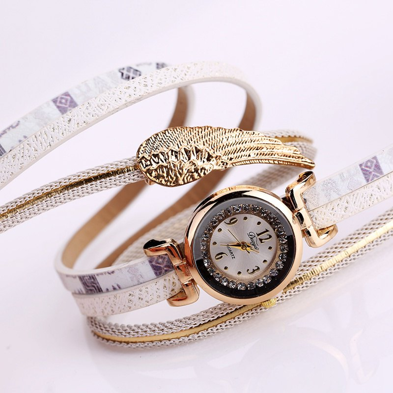 Duoya D135 Women's Bracelet Watch Wings Women Fashion watch - WHITE