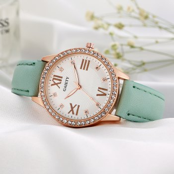GAIETY Women's Roman Numeral Fashion Leather Band Wrist Watch G404 - BLUE