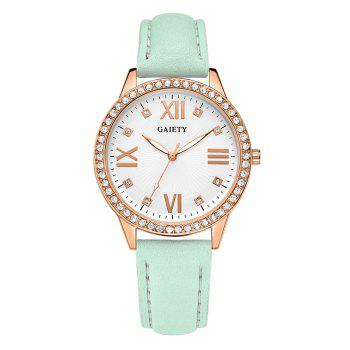 GAIETY Women's Roman Numeral Fashion Leather Band Wrist Watch G404 - GREEN GREEN