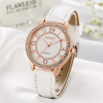 GAIETY Women's White Dial Roman Numeral Wrist Watch Rose Gold Tone G406 - WHITE