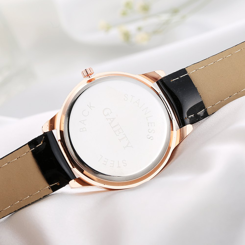 GAIETY Women's White Dial Roman Numeral Wrist Watch Rose Gold Tone G406 - BLACK