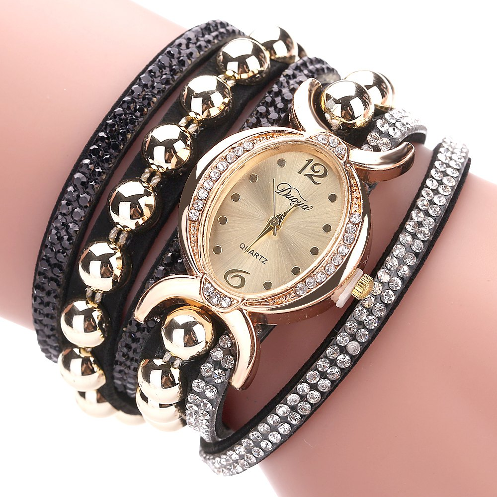 DUOYA D157 Women Bracelet Luxury Watch New Wrist Watch - BLACK