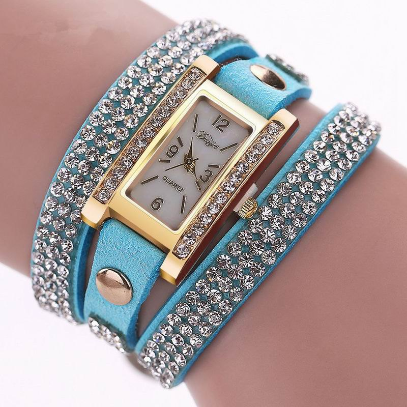 DUOYA D003 Women Leather Strap Rectangular Quartz Wrist Watch With Rhinestones - SKYBLUE