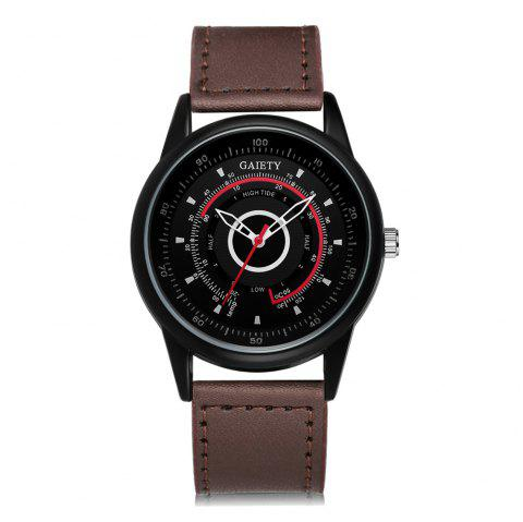 GAIETY Men's Black Dial Unique Dial Leather Band Wrist Watch G408 - BROWN
