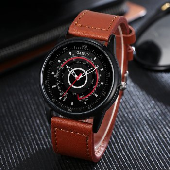 GAIETY Men's Black Dial Unique Dial Leather Band Wrist Watch G408 - COFFEE