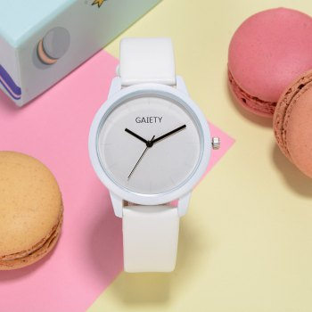 GAIETY G471 Strap Couple Watch -  WHITE