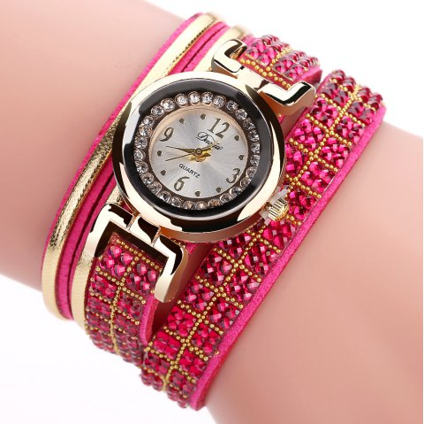 DUOYA D187 Women Leather Wrap Rhinestones Quartz Bracelet Wrist Watch - RED