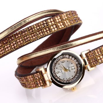 DUOYA D187 Women Leather Wrap Rhinestones Quartz Bracelet Wrist Watch - BROWN