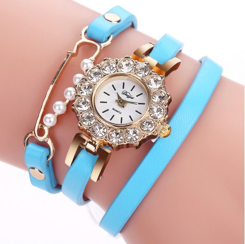 DUOYA D186 Leather Strap Analog Quartz Bracelet Wrist Watch for Women - SKYBLUE