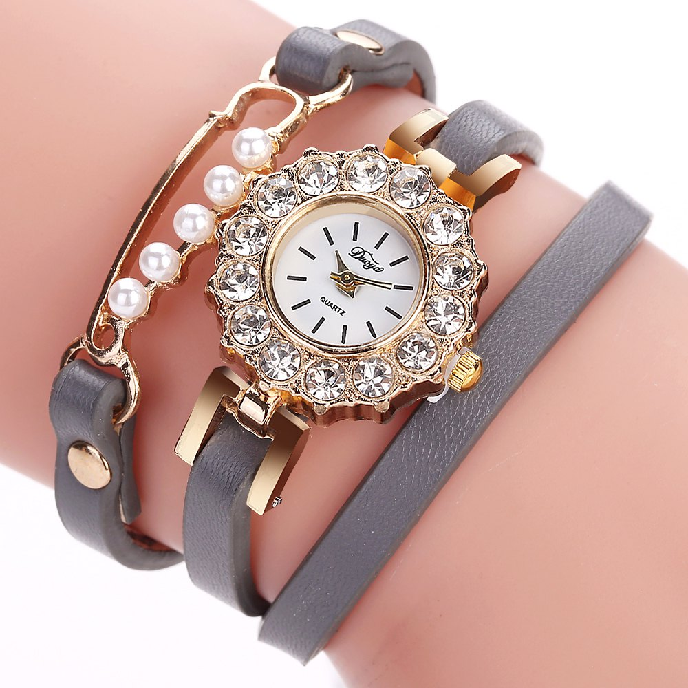 DUOYA D186 Leather Strap Analog Quartz Bracelet Wrist Watch for Women - GREY