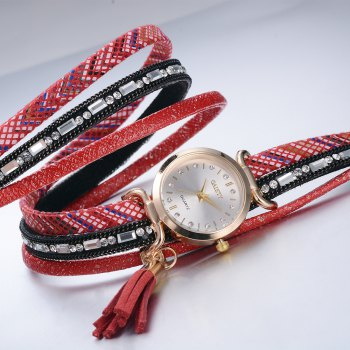 GAIETY Women's Pu Wrap Bracelet Jewelry Watch G412 - ROSE RED